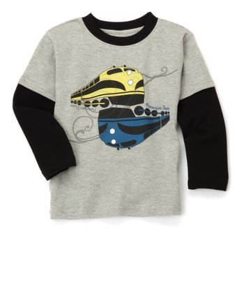 Gray Long-Sleeve Train Tee - Toddler & Boys