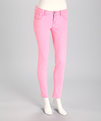 JALATE Fluorescent Pink Skinny Jeans
