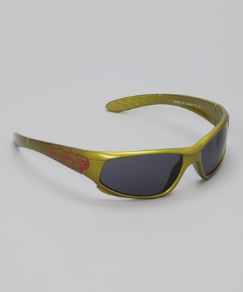 Olive Green & Red Flame Aero Sunglasses