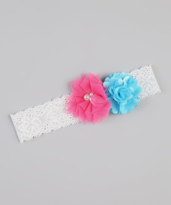 White & Hot Pink Lace Flower Headband