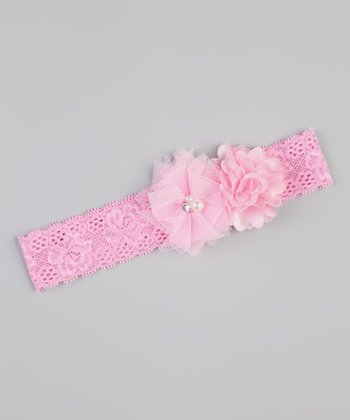 Pink Lace Flower Headband