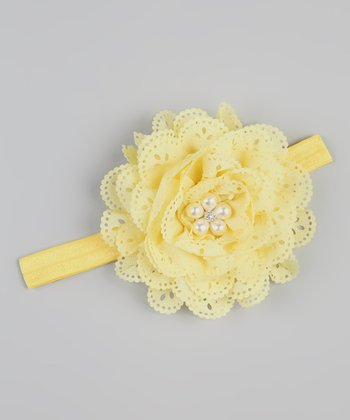 Yellow Eyelet & Lace Rhinestone Flower Headband