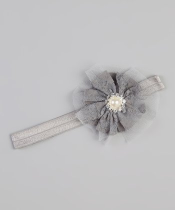 Gray Lace Pearl Rhinestone Flower Headband