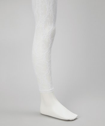 White Lace Footless Tights - Toddler & Girls