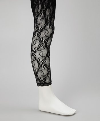Black Lace Footless Tights - Toddler & Girls