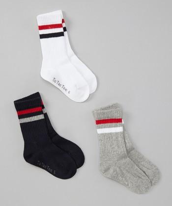 White, Black & Gray Stripe Crew Socks Set