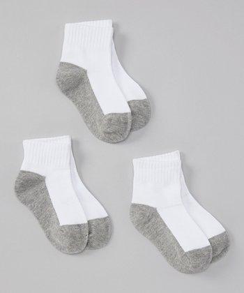 White & Gray Crew Socks Set