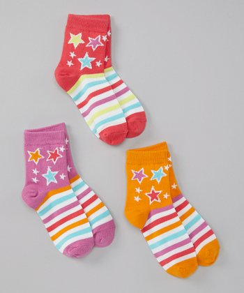 Orange & Purple Shooting Star Socks Set  - Toddler & Girls