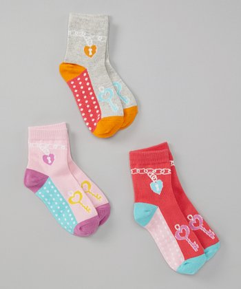 Pink & Orange Charm Bracelet Socks Set - Toddler & Girls