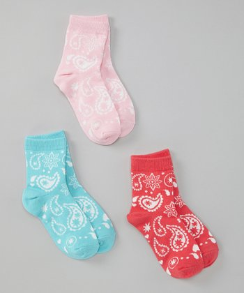Pink, Blue & Red Bandanna Socks Set - Girls