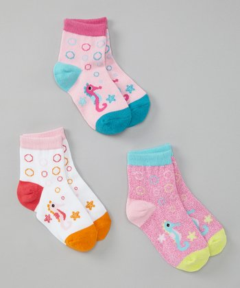 Pink, White & Blue Sea Horse Socks Set - Girls