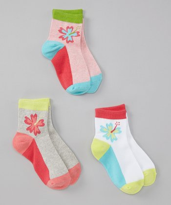 Tropical Hibiscus Socks Set - Girls