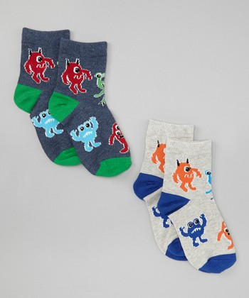 Green & Blue Monsters Socks Set - Toddler & Boys