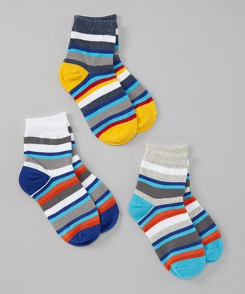 Blue & Yellow Stripe Socks Set - Boys