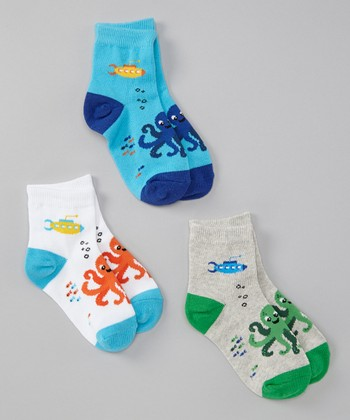 Blue & Green Octopus Socks Set - Toddler & Boys