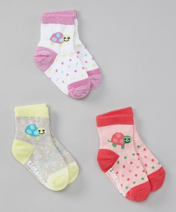 Pink, Yellow & Purple Turtle Socks Set - Infant & Toddler