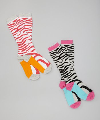 Zebra Knee-High Socks Set - Girls