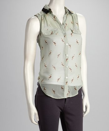 Sage Lace Sleeveless Button-Up Top
