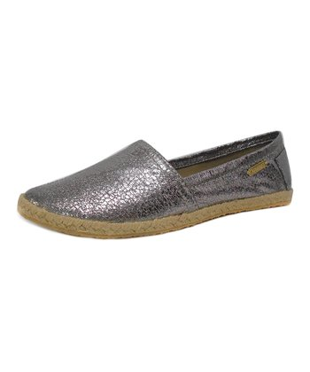 Charcoal Mykonos Crackled Metallic Espadrille Flat