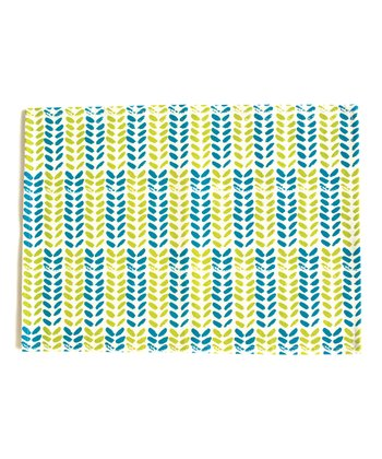 Lime & Teal Leaves Place Mat - Set of Four