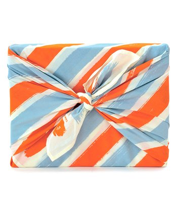 Orange & Blue Stripe Give Thanks Organic Reusable Gift Wrap