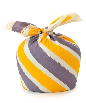 Purple & Yellow Stripe Give Thanks Organic Reusable Gift Wrap