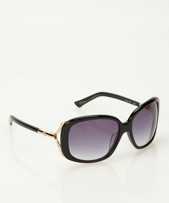 Black Open Temple Sunglasses