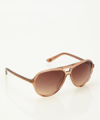 Beige Crystal Pilot Sunglasses