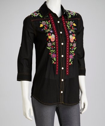 Black Embroidered Button-Up