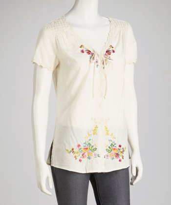 Natural Embroidered Button-Up Top