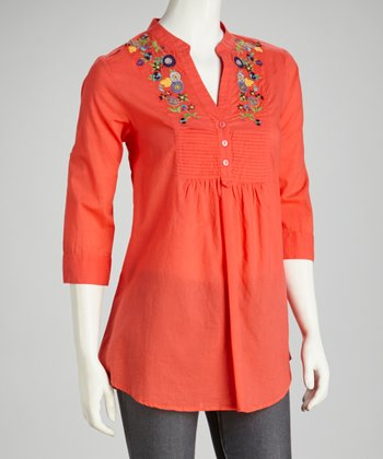 Coral Embroidered Pleated Tunic