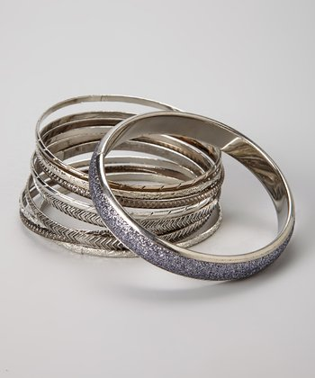 Silver & Purple Bangle Set