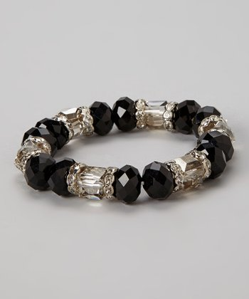 Black Crystal Bead Stretch Bracelet