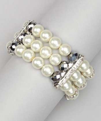 White Pearl & Chrome Crystal Stretch Bracelet