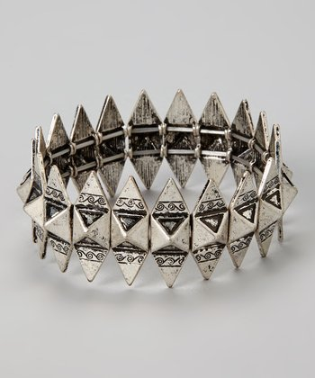 Silver Tribal Stretch Bracelet