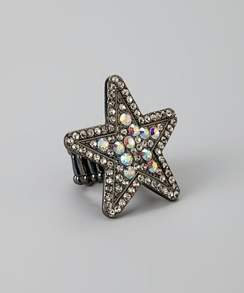 Silver Crystal Star Stretch Ring