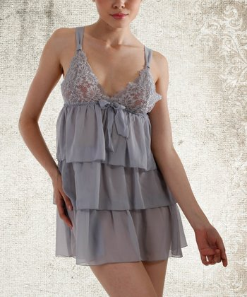Dove Gray Tier Chiffon Chemise - Women & Plus