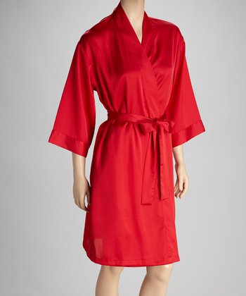 Red Short Robe - Women