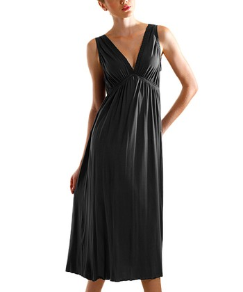 Black V-Neck Nightgown - Women