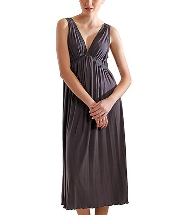 Pewter V-Neck Nightgown - Women & Plus