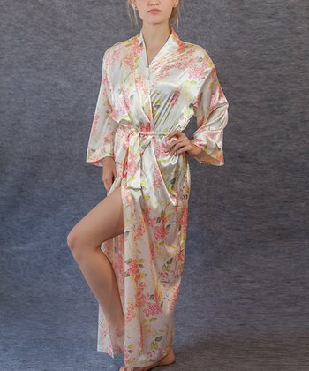 White Floral Long Robe - Women & Plus