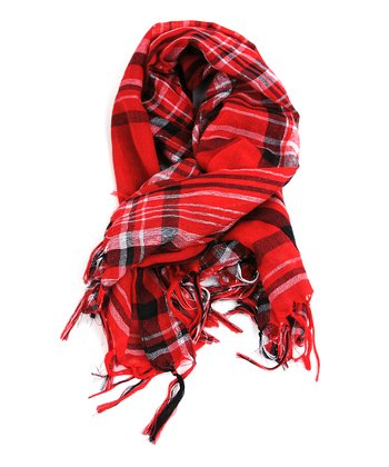 Red & Silver Plaid Scarf