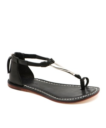 Black Leather Marina T-Strap Sandal