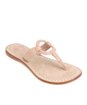 Taupe Leather Matrix Thong Sandal