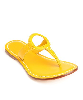 Lemon Yellow Leather Matrix Thong Sandal