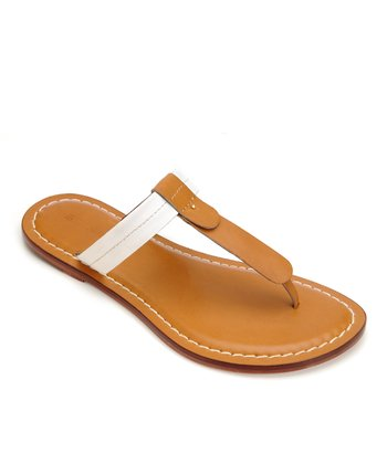 Camel & White Leather Mercer Thong Sandal