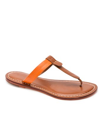 Luggage & Orange Leather Mercer Thong Sandal