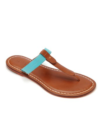 Luggage & Turquoise Leather Mercer Thong Sandal