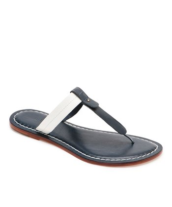 Navy & White Leather Mercer Thong Sandal