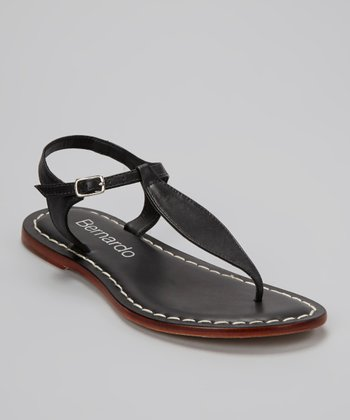 Black Leather Mistral Sandal
